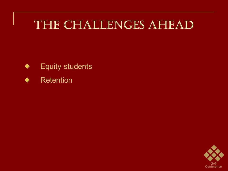 Go8 Conference THE CHALLENGES AHEAD Equity students Retention