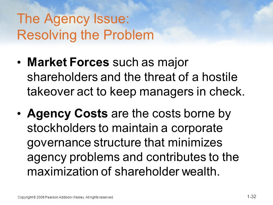 Copyright © 2006 Pearson Addison-Wesley. All rights reserved. 1-32 The Agency Issue: Resolving the Problem Market Forces such as major shareholders an