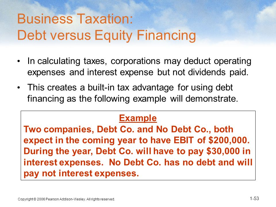 Copyright © 2006 Pearson Addison-Wesley. All rights reserved. 1-53 Example Two companies, Debt Co. and No Debt Co., both expect in the coming year to