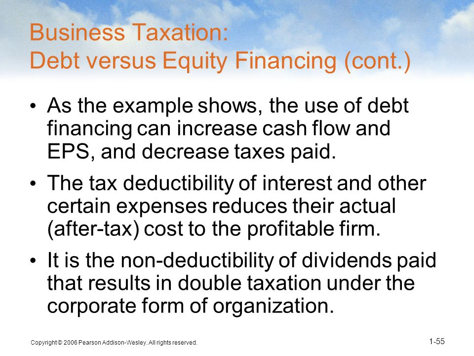 Copyright © 2006 Pearson Addison-Wesley. All rights reserved. 1-55 Business Taxation: Debt versus Equity Financing (cont.) As the example shows, the u