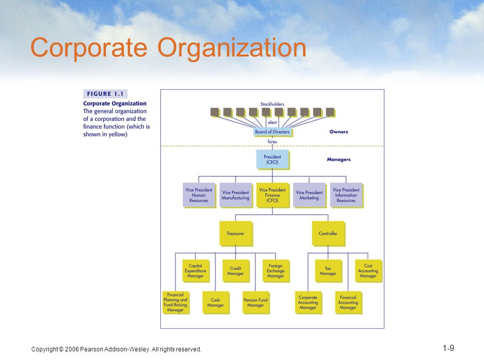 Copyright © 2006 Pearson Addison-Wesley. All rights reserved. 1-9 Corporate Organization
