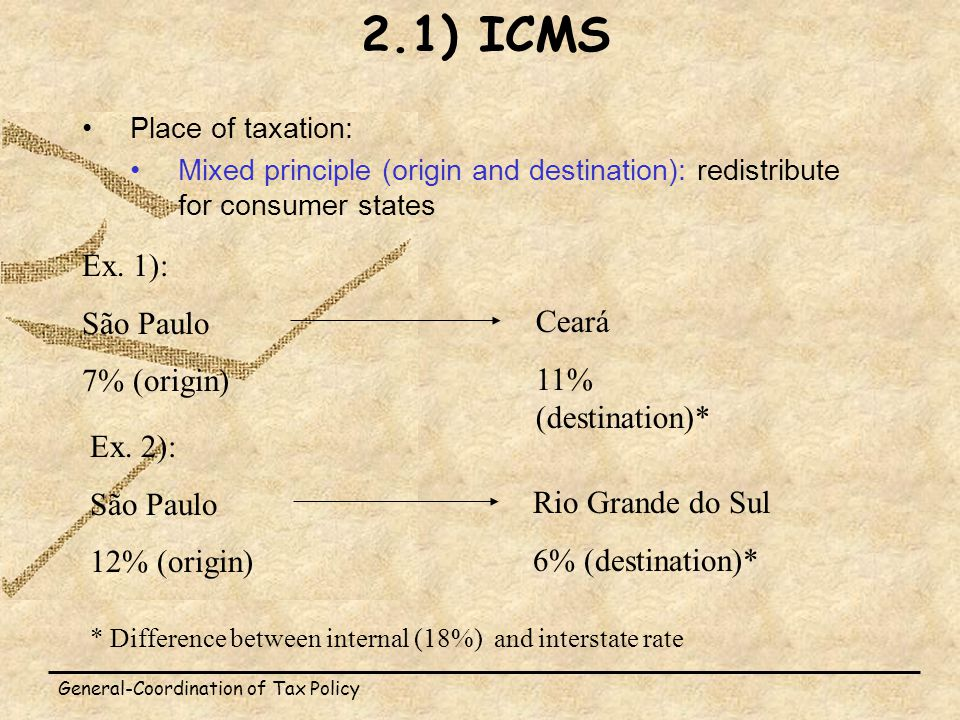 General-Coordination of Tax Policy Place of taxation: Mixed principle (origin and destination): redistribute for consumer states 2.1) ICMS Ex.