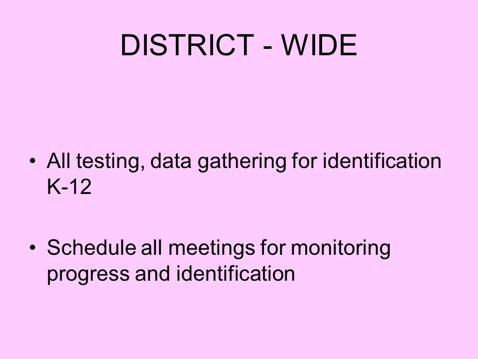 DISTRICT - WIDE All testing, data gathering for identification K-12 Schedule all meetings for monitoring progress and identification