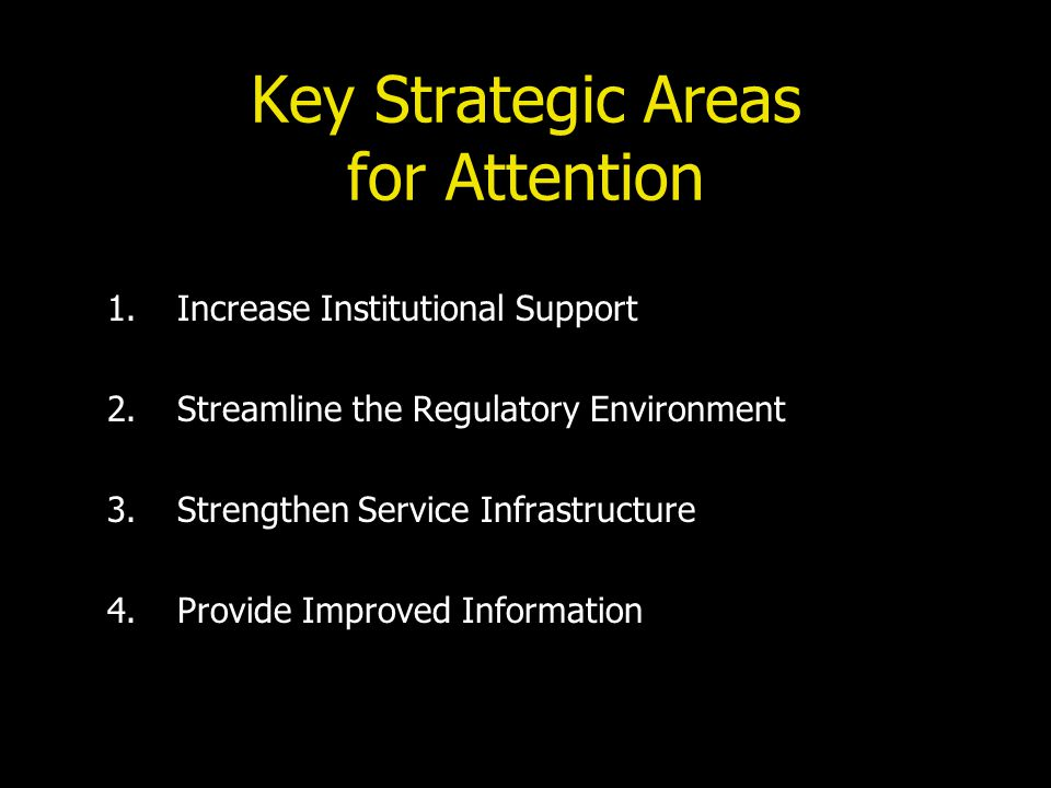 Key Strategic Areas for Attention 1.Increase Institutional Support 2.Streamline the Regulatory Environment 3.Strengthen Service Infrastructure 4.Provide Improved Information