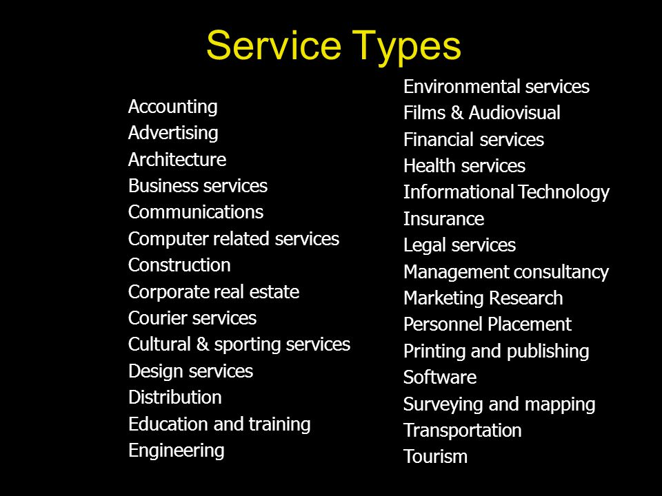 Service Types Environmental services Films & Audiovisual Financial services Health services Informational Technology Insurance Legal services Management consultancy Marketing Research Personnel Placement Printing and publishing Software Surveying and mapping Transportation Tourism Accounting Advertising Architecture Business services Communications Computer related services Construction Corporate real estate Courier services Cultural & sporting services Design services Distribution Education and training Engineering