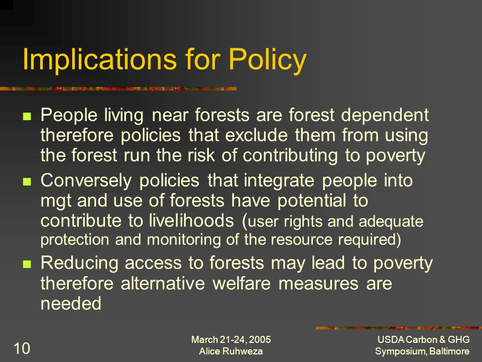 March 21-24, 2005 Alice Ruhweza USDA Carbon & GHG Symposium, Baltimore 10 Implications for Policy People living near forests are forest dependent ther