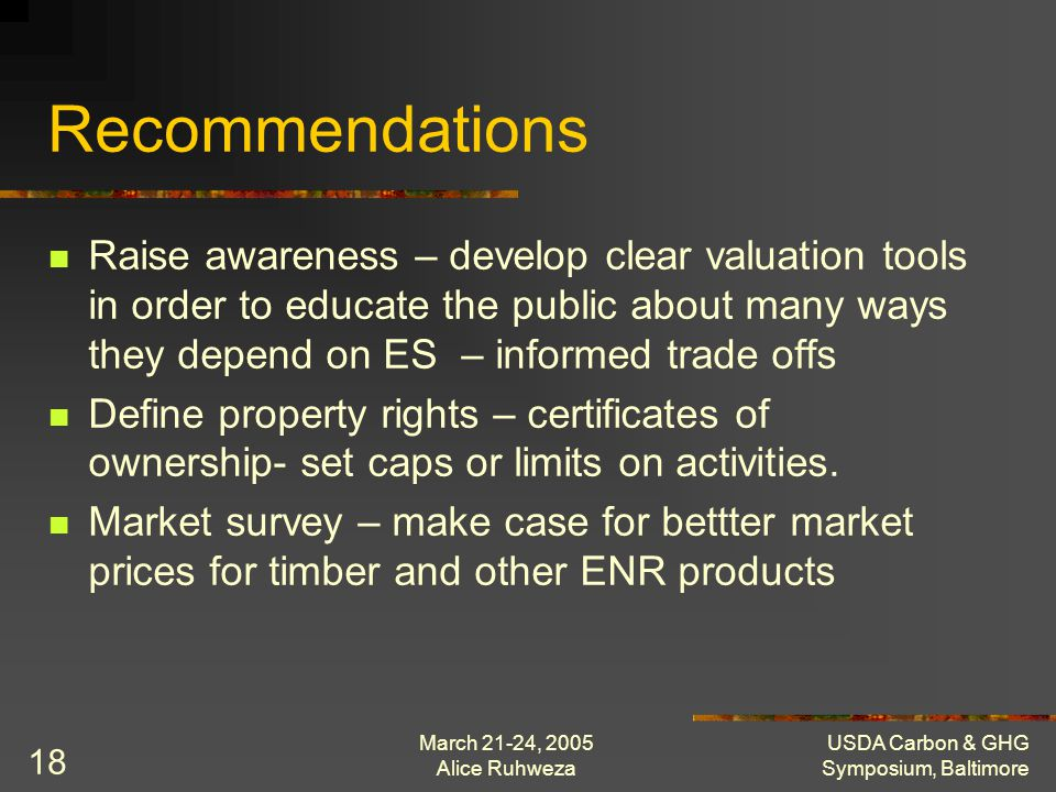 March 21-24, 2005 Alice Ruhweza USDA Carbon & GHG Symposium, Baltimore 18 Recommendations Raise awareness – develop clear valuation tools in order to