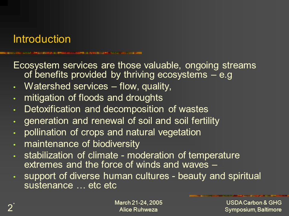 March 21-24, 2005 Alice Ruhweza USDA Carbon & GHG Symposium, Baltimore 2 Introduction Ecosystem services are those valuable, ongoing streams of benefi