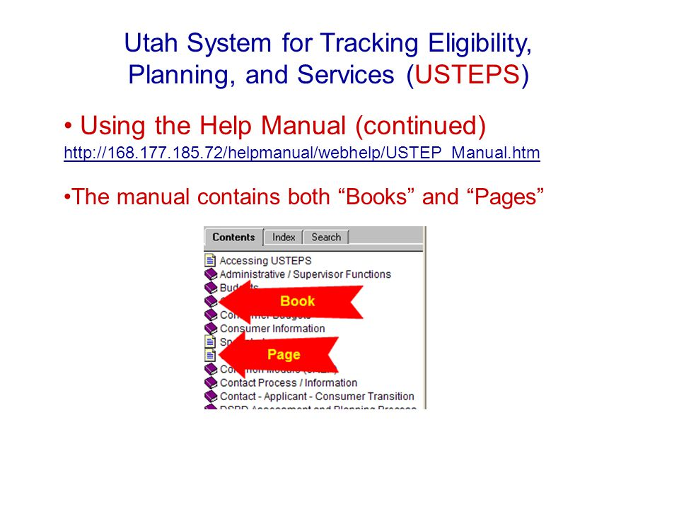 Using the Help Manual (continued) http://168.177.185.72/helpmanual/webhelp/USTEP_Manual.htm http://168.177.185.72/helpmanual/webhelp/USTEP_Manual.htm The manual contains both Books and Pages Utah System for Tracking Eligibility, Planning, and Services (USTEPS)