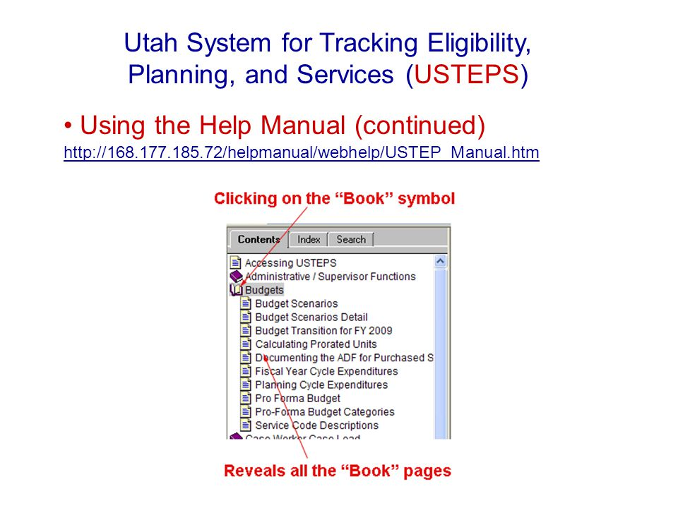 Using the Help Manual (continued) http://168.177.185.72/helpmanual/webhelp/USTEP_Manual.htm http://168.177.185.72/helpmanual/webhelp/USTEP_Manual.htm Utah System for Tracking Eligibility, Planning, and Services (USTEPS)