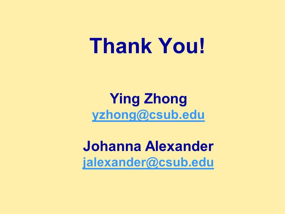 Thank You! Ying Zhong yzhong@csub.edu Johanna Alexander jalexander@csub.edu jalexander@csub.edu