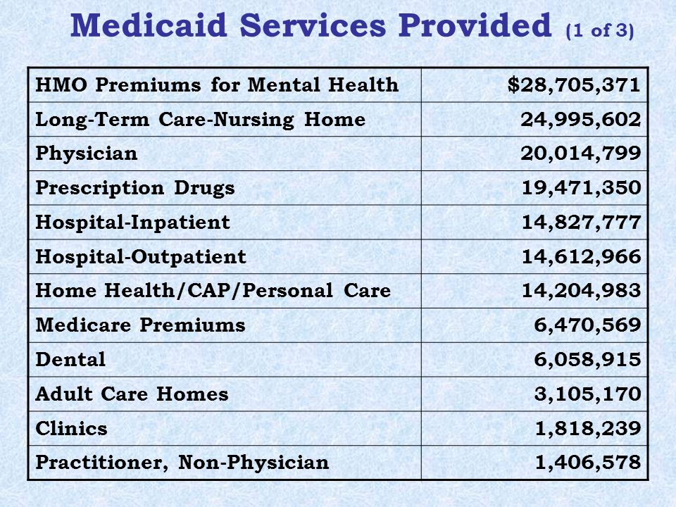 Medicaid Services Provided (1 of 3) HMO Premiums for Mental Health$28,705,371 Long-Term Care-Nursing Home 24,995,602 Physician 20,014,799 Prescription Drugs 19,471,350 Hospital-Inpatient 14,827,777 Hospital-Outpatient 14,612,966 Home Health/CAP/Personal Care 14,204,983 Medicare Premiums 6,470,569 Dental 6,058,915 Adult Care Homes 3,105,170 Clinics 1,818,239 Practitioner, Non-Physician1,406,578