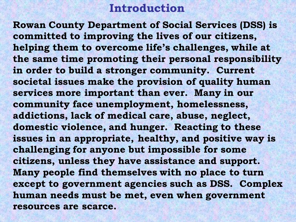 Introduction Continued DSS serves economically disadvantaged children, families, and adults, helping them to become self- sufficient.