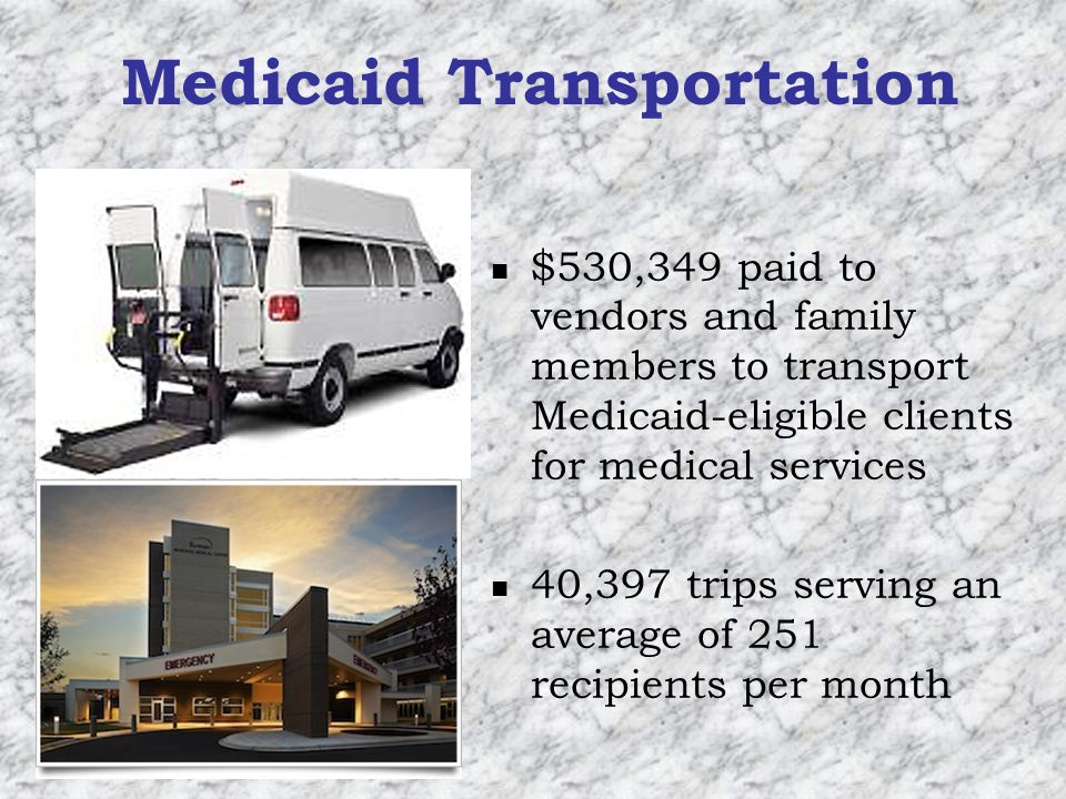 Medicaid Transportation $530,349 paid to vendors and family members to transport Medicaid-eligible clients for medical services 40,397 trips serving an average of 251 recipients per month