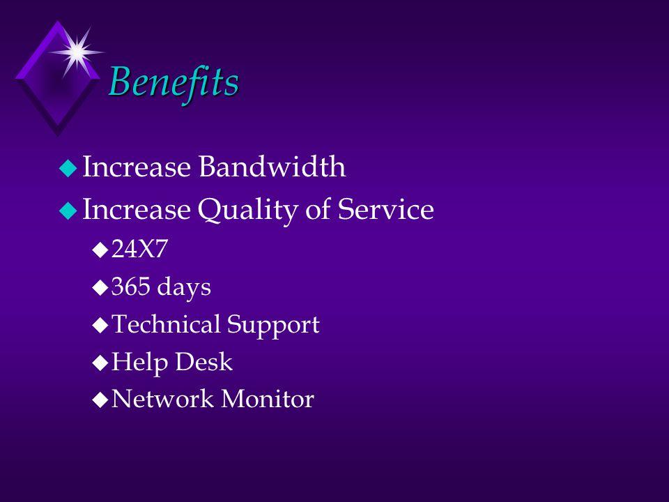 Benefits u Increase Bandwidth u Increase Quality of Service u 24X7 u 365 days u Technical Support u Help Desk u Network Monitor