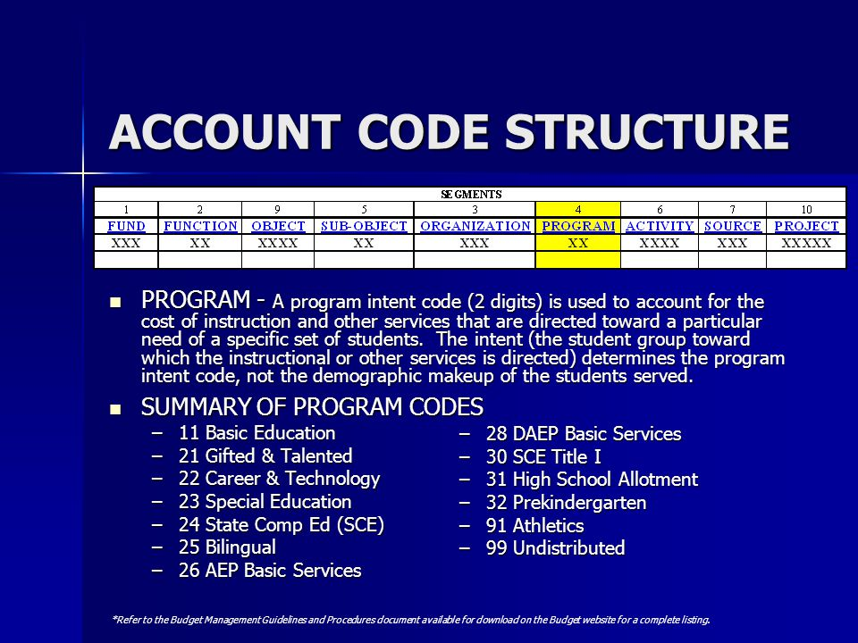 ACCOUNT CODE STRUCTURE PROGRAM - A program intent code (2 digits) is used to account for the cost of instruction and other services that are directed