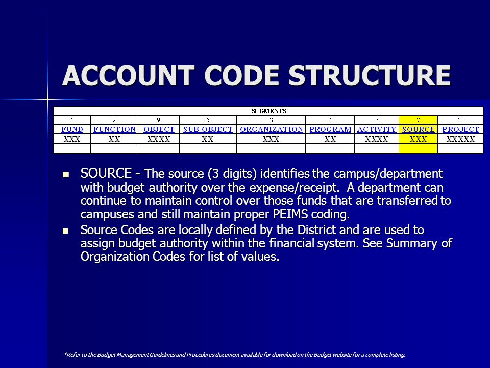 ACCOUNT CODE STRUCTURE SOURCE - The source (3 digits) identifies the campus/department with budget authority over the expense/receipt. A department ca