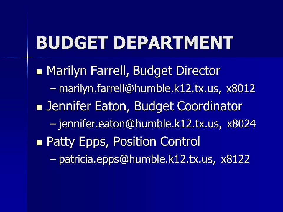 Marilyn Farrell, Budget Director Marilyn Farrell, Budget Director –marilyn.farrell@humble.k12.tx.us, x8012 Jennifer Eaton, Budget Coordinator Jennifer