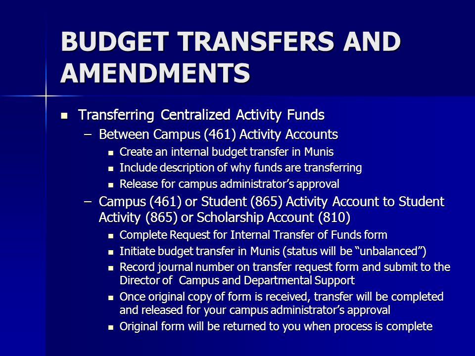 BUDGET TRANSFERS AND AMENDMENTS Transferring Centralized Activity Funds Transferring Centralized Activity Funds –Between Campus (461) Activity Account