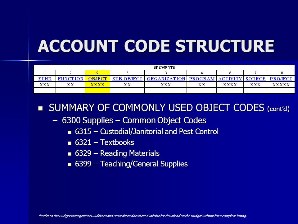 ACCOUNT CODE STRUCTURE SUMMARY OF COMMONLY USED OBJECT CODES (contd) SUMMARY OF COMMONLY USED OBJECT CODES (contd) –6300 Supplies – Common Object Code