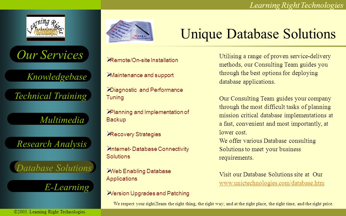 Learning Right Technologies Technical Training Multimedia Research Analysis E-Learning Knowledgebase Our Services Database Solutions We respect your r