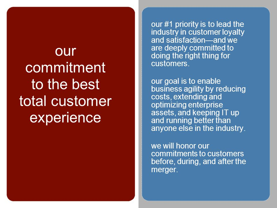 © 2002 our commitment to the best total customer experience our #1 priority is to lead the industry in customer loyalty and satisfactionand we are deeply committed to doing the right thing for customers.