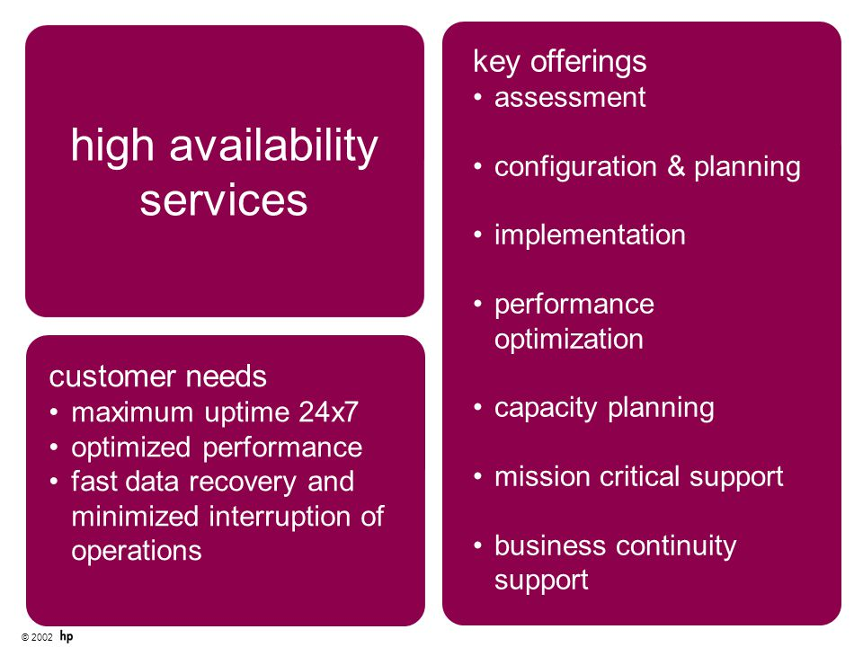 © 2002 key offerings assessment configuration & planning implementation performance optimization capacity planning mission critical support business continuity support high availability services customer needs maximum uptime 24x7 optimized performance fast data recovery and minimized interruption of operations