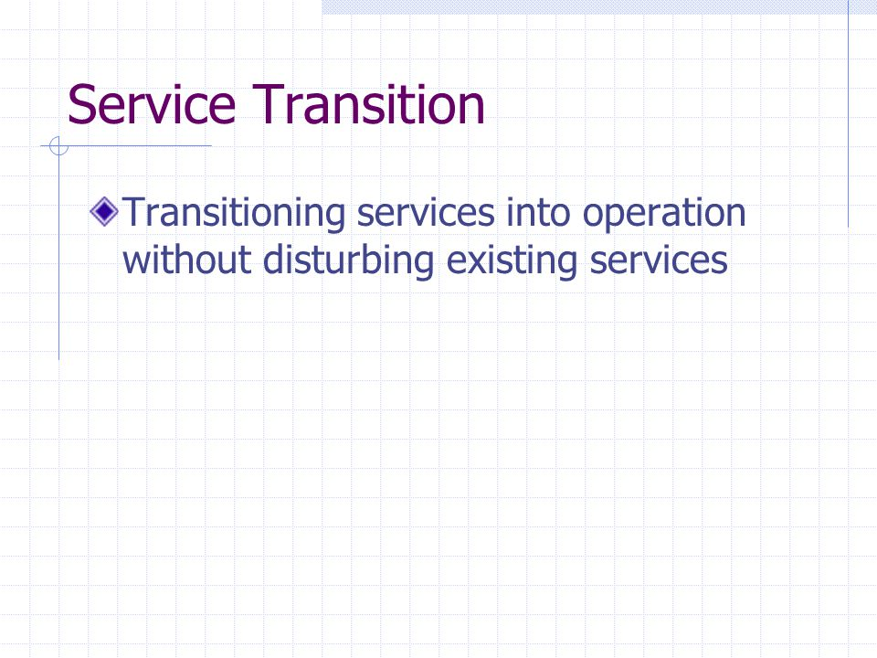 Service Transition Transitioning services into operation without disturbing existing services