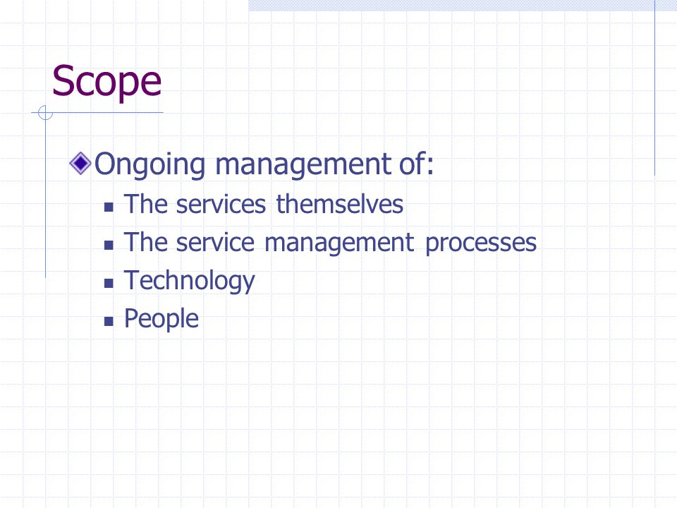 Scope Ongoing management of: The services themselves The service management processes Technology People