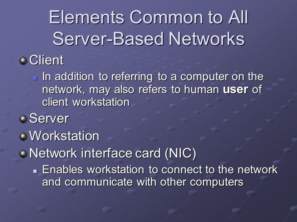 Elements Common to All Server-Based Networks Client In addition to referring to a computer on the network, may also refers to human user of client workstation In addition to referring to a computer on the network, may also refers to human user of client workstationServerWorkstation Network interface card (NIC) Enables workstation to connect to the network and communicate with other computers Enables workstation to connect to the network and communicate with other computers