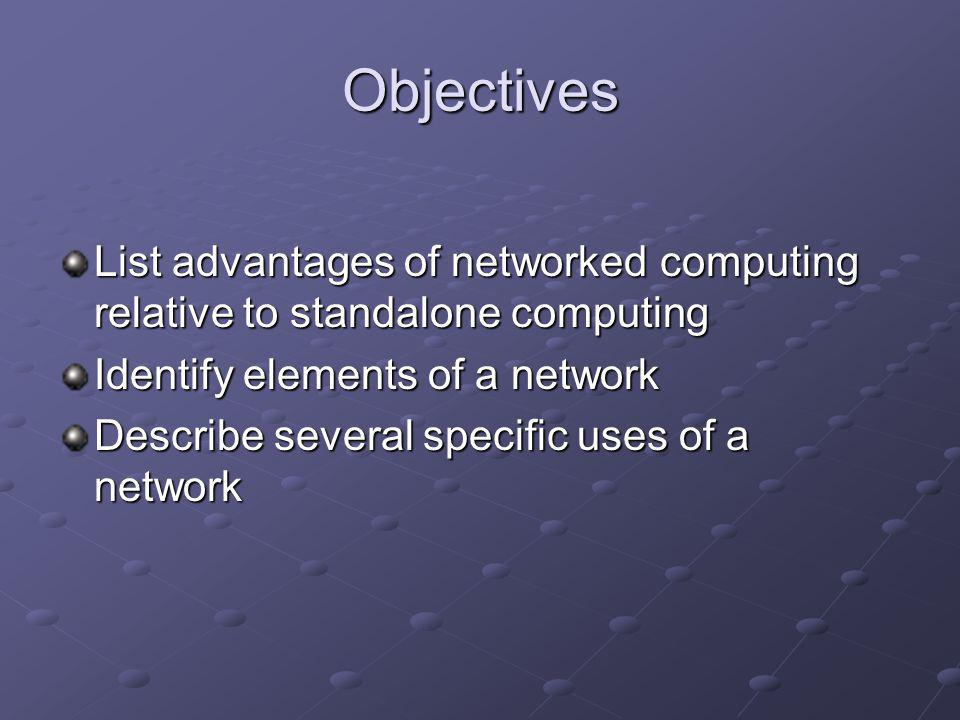 Objectives List advantages of networked computing relative to standalone computing Identify elements of a network Describe several specific uses of a network