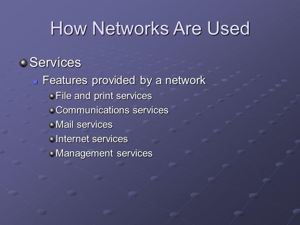 How Networks Are Used Services Features provided by a network Features provided by a network File and print services Communications services Mail services Internet services Management services