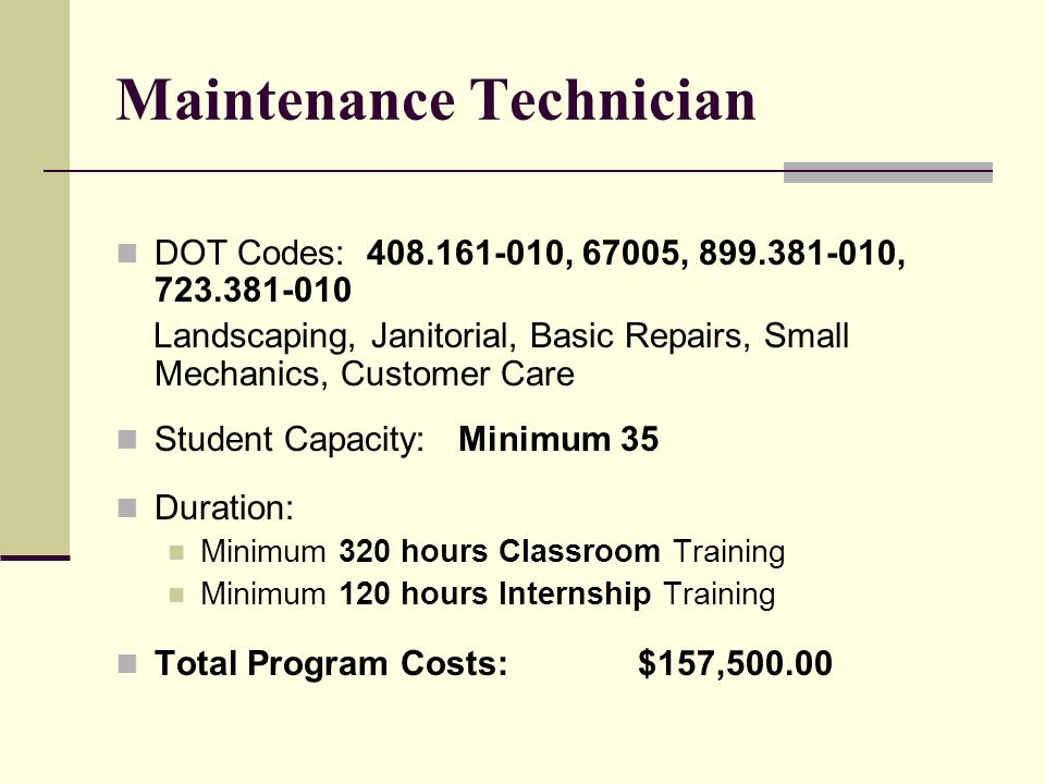 Protective Services Technician DOT Codes: 372.667-034 Academic preparation for the various Peace Officer entrance exams, Armed Security Guard, CPR and BLS certification, Loss Prevention training, Report Writing skills, Communication and Surveillance skills, Surveillance System set-up techniques Student Capacity: Minimum 40 Duration: Minimum 320 hours Classroom Training Minimum120 hours Internship Training Total Program Costs:$140,000.00