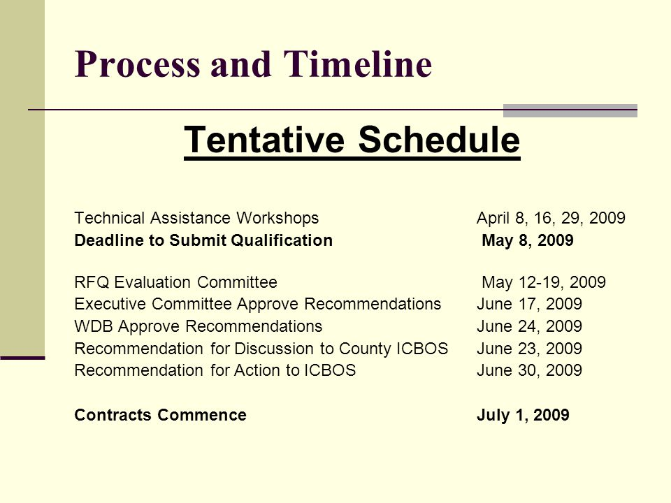 Process and Timeline Tentative Schedule Technical Assistance Workshops April 8, 16, 29, 2009 Deadline to Submit Qualification May 8, 2009 RFQ Evaluation Committee May 12-19, 2009 Executive Committee Approve RecommendationsJune 17, 2009 WDB Approve RecommendationsJune 24, 2009 Recommendation for Discussion to County ICBOS June 23, 2009 Recommendation for Action to ICBOS June 30, 2009 Contracts CommenceJuly 1, 2009
