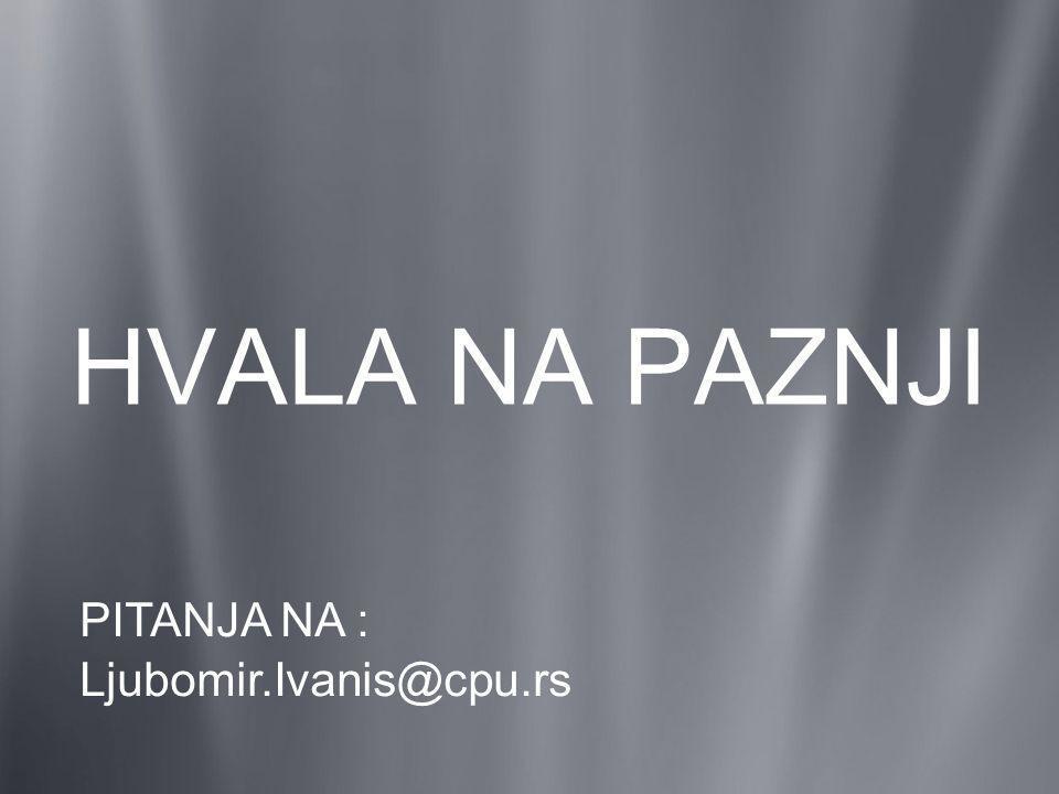HVALA NA PAZNJI PITANJA NA : Ljubomir.Ivanis@cpu.rs