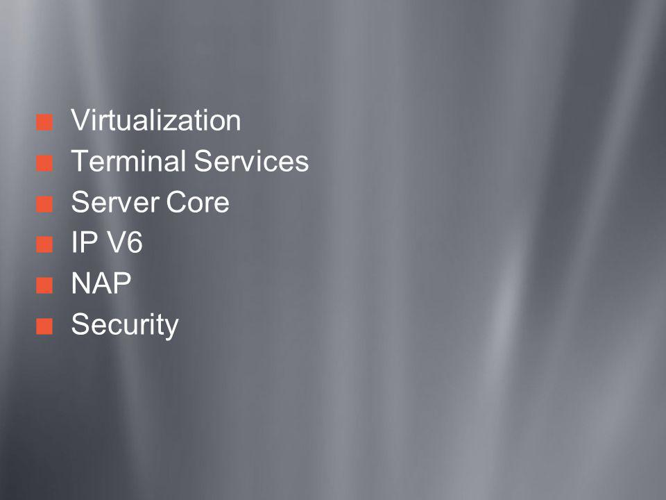 Virtualization Terminal Services Server Core IP V6 NAP Security