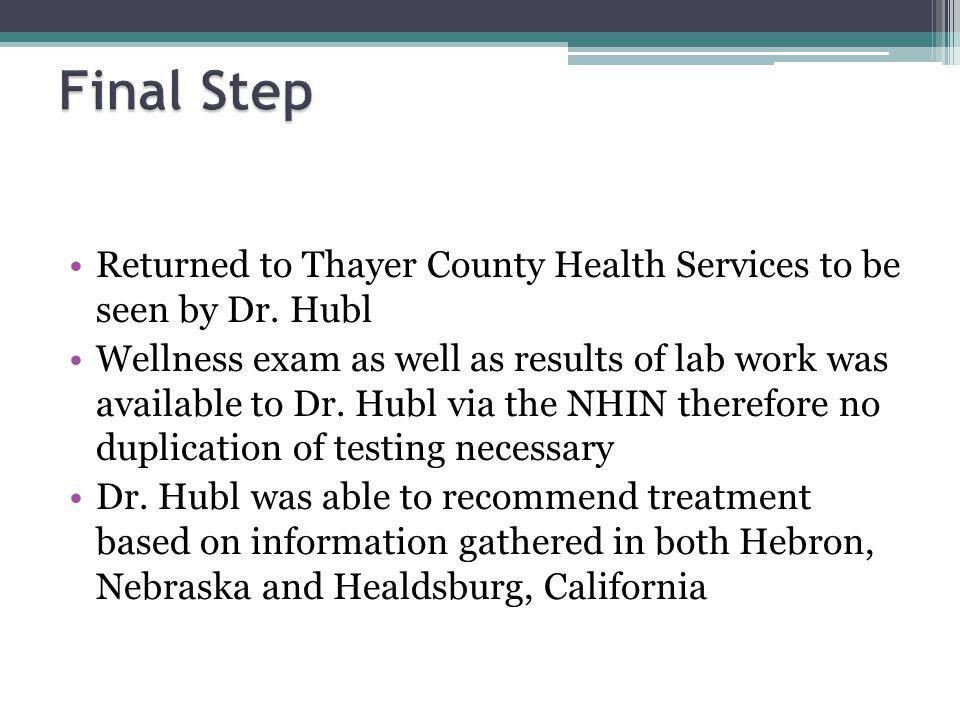 Returned to Thayer County Health Services to be seen by Dr.