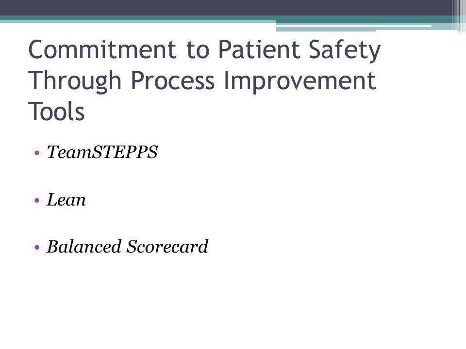 Commitment to Patient Safety Through Process Improvement Tools TeamSTEPPS Lean Balanced Scorecard