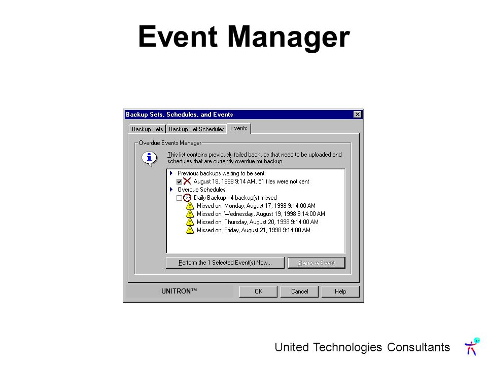 United Technologies Consultants Event Manager UNITRON