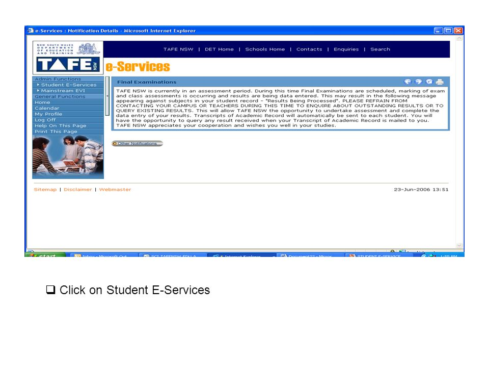 Click on Student E-Services