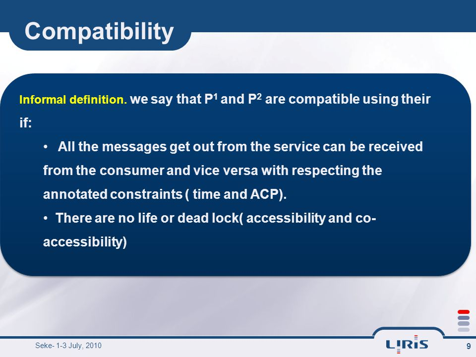Compatibility ex.10 b(+) a(+) d(-) a(-) d(+) c(-) BP1 BP2 Two BP their product automata.