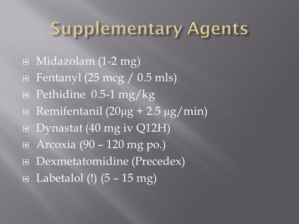 Midazolam (1-2 mg) Fentanyl (25 mcg / 0.5 mls) Pethidine 0.5-1 mg/kg Remifentanil (20 μ g + 2.5 μ g/min) Dynastat (40 mg iv Q12H) Arcoxia (90 – 120 mg