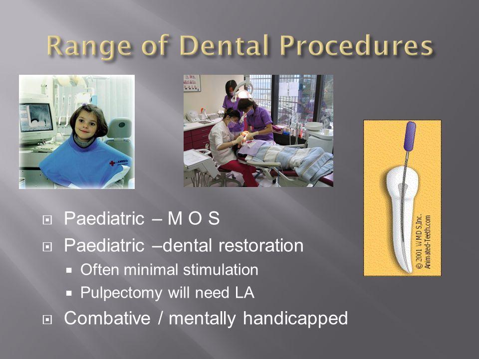 Paediatric – M O S Paediatric –dental restoration Often minimal stimulation Pulpectomy will need LA Combative / mentally handicapped
