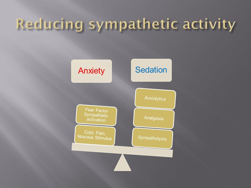 AnxietySedation SympatholysisAnalgesiaAnxiolytics Cold, Pain, Noxious Stimulus Fear Factor Sympathetic activation