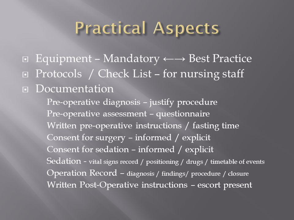 Equipment – Mandatory Best Practice Protocols / Check List – for nursing staff Documentation Pre-operative diagnosis – justify procedure Pre-operative