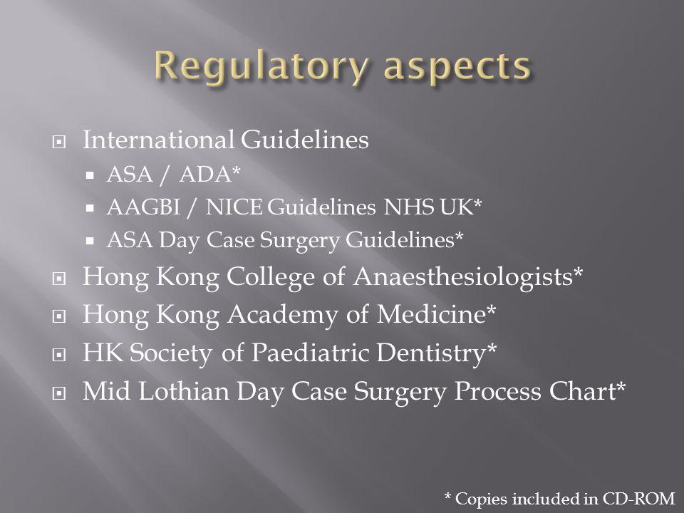 International Guidelines ASA / ADA* AAGBI / NICE Guidelines NHS UK* ASA Day Case Surgery Guidelines* Hong Kong College of Anaesthesiologists* Hong Kon