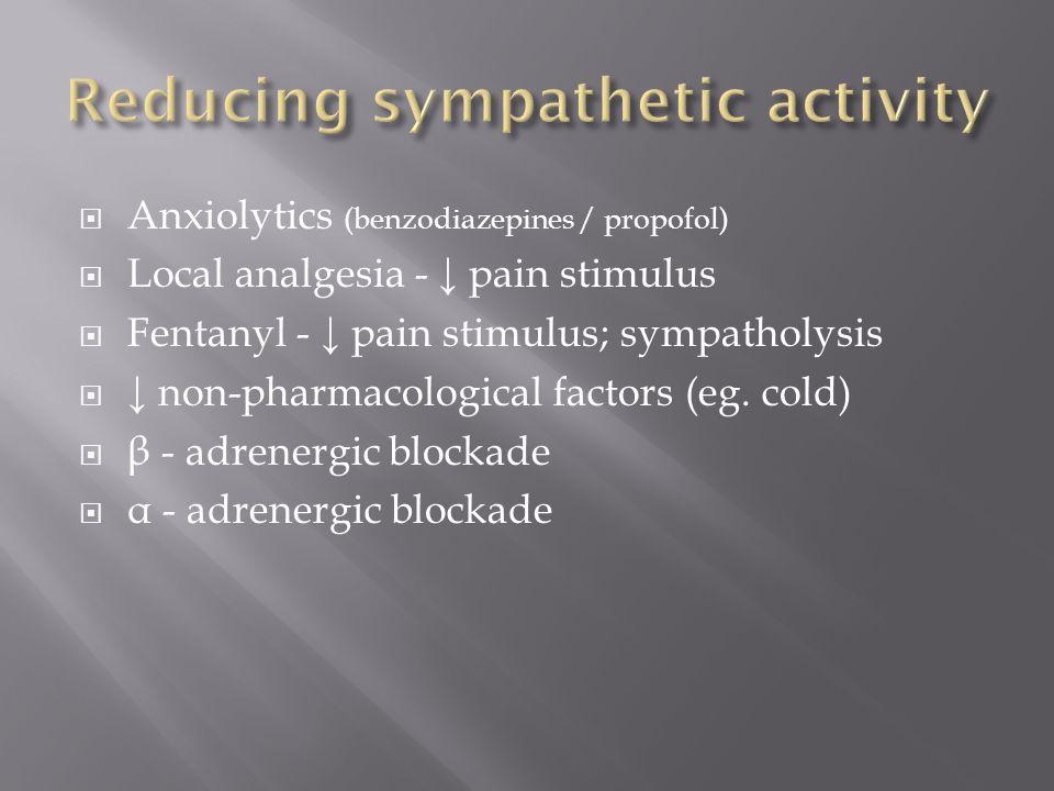 Anxiolytics (benzodiazepines / propofol) Local analgesia - pain stimulus Fentanyl - pain stimulus; sympatholysis non-pharmacological factors (eg. cold