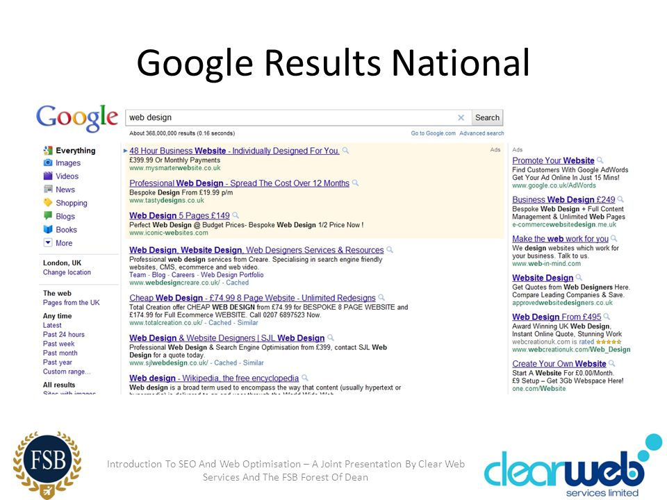 Google Results National Introduction To SEO And Web Optimisation – A Joint Presentation By Clear Web Services And The FSB Forest Of Dean