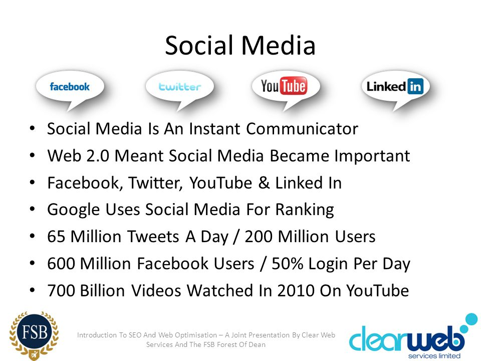 Social Media Social Media Is An Instant Communicator Web 2.0 Meant Social Media Became Important Facebook, Twitter, YouTube & Linked In Google Uses So