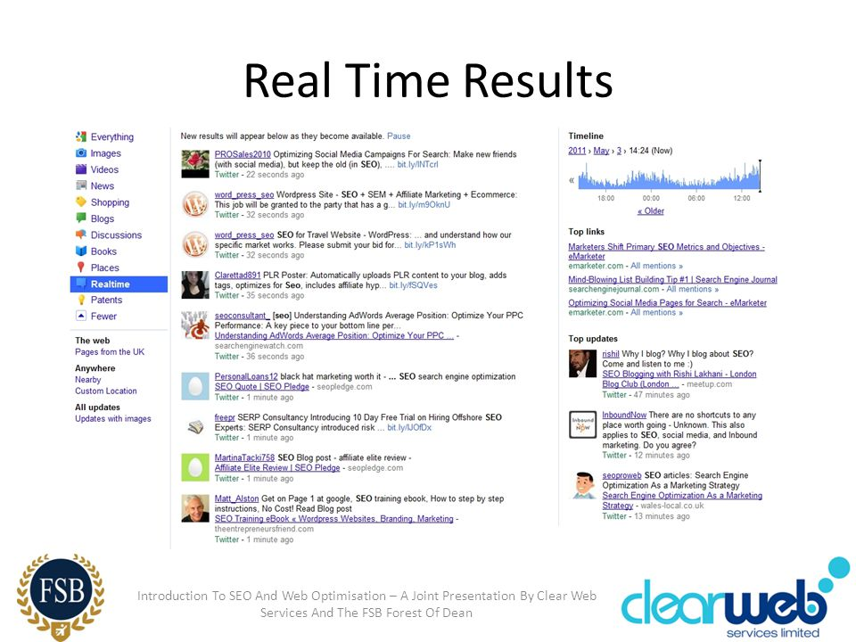 Real Time Results Introduction To SEO And Web Optimisation – A Joint Presentation By Clear Web Services And The FSB Forest Of Dean
